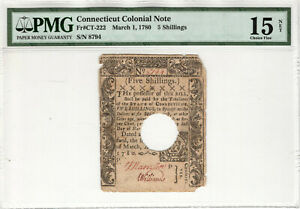 MARCH 1 1780 5 SHILLINGS CONNECTICUT COLONIAL NOTE CT-220 PMG CHOICE FINE 15 NET