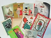 Lot 10 Vtg Christmas Greeting Cards Used Lot Scrapbook Crafts 1950, 60s, 70s