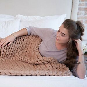 Winter Warm Chunky Knitted Thick Blanket Hand Yarn Merino Bulky Throw Sofa Knit