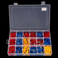 1200pc Insulated Assorted Electrical Wire Terminals Crimp Connector Ring Spade