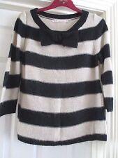 NEXT Size 6 black/cream-beige thin knit striped jumper, 3/4 sleeves, bow detail
