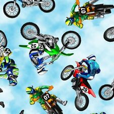 Dirt Bikes-Motorcycles Cotton Fabric By Timeless Treasures