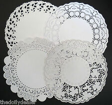 "ASSORTED 22CM OR 8.5""  EMBOSSED WHITE PAPER LACE DOILIES COLLECTION  X 24"