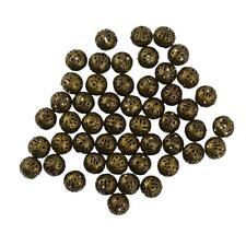 50pcs 10mm ronde Spacer Enfilade Perles creux Filigrane Métal Charms