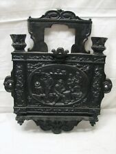 Antique Ornate Cast Iron Wall Plaque Plate Whip Tool Holder Keys Victorian