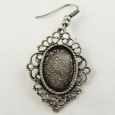 09303  Atq Style Silver Tone Alloy Cameo Setting Inner 17*12mm Earring Hook 24pc