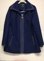 Dennis by Dennis Basso Womens Blue/Navy/Zipper Front Lined Jacket/Coat/Size M