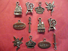 Tibetan Silver Sleeping Beauty Themed Mixed Charms 12 per pack