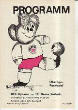OL 81/82  BFC Dynamo Berlin - FC Hansa Rostock