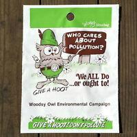 2 Vintage Original WOODSY OWL Don't Pollute Plastic Litter Bag Set 1970s NOS