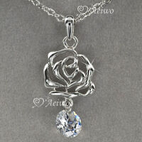 18k white gold gf made with swarovski crystal rose pendant fashion necklace 2ct