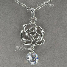 18K WHITE GOLD GF MADE WITH SWAROVSKI CRYSTAL ROSE PENDANT NECKLACE 2CT