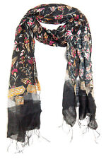 DAPPER BLACK, PINK & BEIGE FLORAL PRINT COTTON MIX SCARF WITH SILVER THREAD(MS1)