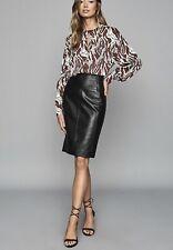 REISS Megan Leather Pencil Skirt - Black (UK 14)RRP- £225