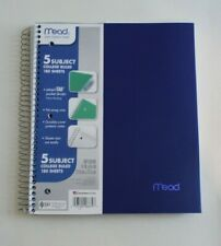 MEAD 5 Subject College Ruled Spiral Notebooks Perforated Pocket Dividers