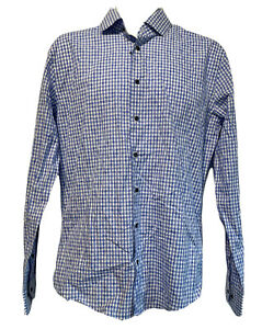 1901 trim fit blue plaid long sleeve embroidered button up shirt 15.5 34-35
