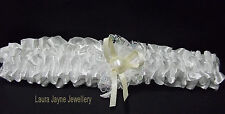 Ivory Satin Bridal garter with cream satin bow & faux pearl heart design