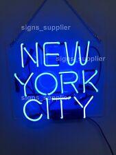 New York City Blue Acrylic Neon Sign 14'' Light Lamp Bar Wall Display Gift Decor