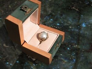 Gorgeous 14K Yellow Gold & Large 17mm Mabe Pearl Ring - Size 7.0 - 4.3g