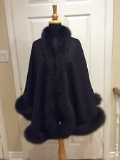 Brown Cashmere Wool  poncho/ cape / wrap with fox fur