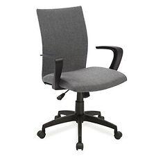 Leick Furniture 10115GR Grey Linen Apostrophe Office Chair w/Black Caster Base