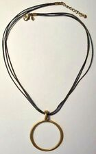 "Premier Designs Jewelry Sahara 17 1/2"" + 1 1/2"" Leather Necklace w Gold Pendant"