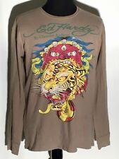 Ed Hardy By Christian Audigier Tiger Demon Snake Skull XL Long Sleeve Pullover