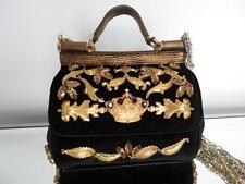 Auth Dolce & Gabbana Black Velvet Mini Miss Sicily Bag