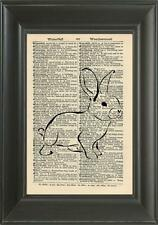 ORIGINAL - Rabbit Art Print on Vintage Dictionary Page - Kitchen Wall Art 224B