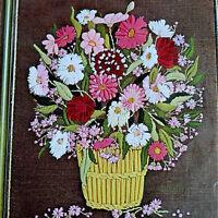 GARDEN BASKET Vintage Crewel Kit LARGE Marcia Reed Linen Fabric Retro Mod Floral