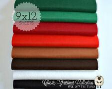 "CLASSIC CHRISTMAS Felt Collection, Merino Wool Blend Felt, EIGHT 9"" X 12"" Sheets"