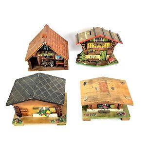 LOT x4 VTG Bank /Music Box WOOD House COTTAGE Japan Italy Bank House Miniature
