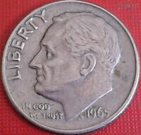 $ USA 1 Dime 1965 Cupronickel plated copper KM# 195a