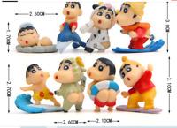 8pcs/lot Q Version Anime Crayon Shin chan Cute Figure PVC Crayon Shin-chan Actio