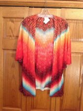 Chicos Cardigan Sweater Multi Color Open Drape Front Short Sleeve Womans Size 2
