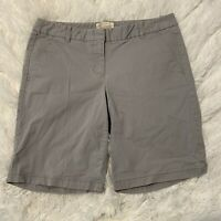 J Crew Womens Size 2 Gray Bermuda Chino Shorts EUC