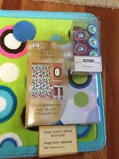 Bubble Gum Dot Lime Green Pink Bath Rug Shower Curtain Hooks Towels 18pc NEW