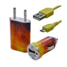 Mini Chargeur 3en1 Auto + Secteur USB + Câble Data avec CV05 pour HTC : One /