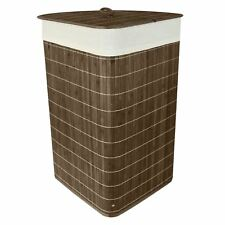 Folding Bamboo Laundry Hamper Basket Storage Bin Dirty Clothes Washing Bag