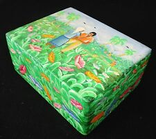 1980s Haitian Wooden Covered Boxes w. Painted Landscape Motif J.H. Wesner (Stea)