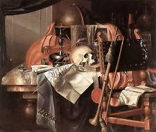 Oil painting franciscus gysbrechts - vanitas still life skull trombone book ...