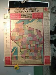 1907 Map Of Wisconsin. Promotional piece for the Wisconsin Agricuturalist.