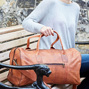 Fair Trade Handmade Leather Duffle Bag, Adjustable Shoulder Strap - 2nd Quality