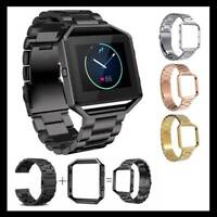 Watchband Men Metal Bracelet Wrist Band For FITBIT BLAZE Watch Strap with Frame