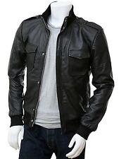 Men's Slim Genuine Cow Hide Bomber Leather Designer Coat Motorcycle Jacket UC835