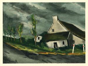 """Maurice Vlaminck lithograph by Mourlot """"Near Beaumont-Sur-Sarthe"""""""