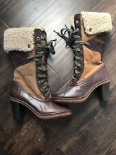Pajar Women's Heeled Winter Boots Size 37 / 6-6.5 Brown Lace Up Leather Fur