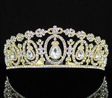 Daisy Floral Austrian Crystal Rhinestone Tiara Crown W/ Hair Comb T2312C Gold