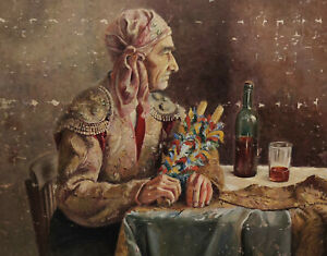 Bull Fighter? With Headscarf Wine And Flowers