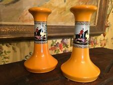 English Ceramic Hunt Scene Candlesticks Vintage